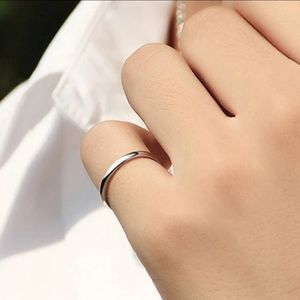 titanium steel Wedding band ring Jewelry - Titanium Steel 2mm Thin Simple Silver Ring